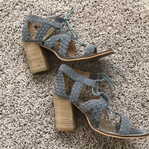 Gray Diba Block Heel Lace Up Sandals - size 7